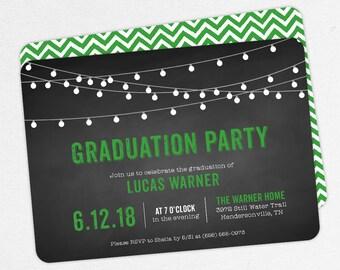 Graduation Invitation, Graduation Announcement, Printable Invitation, Invitation PDF, DIY, Printed, String Lights, Chalkboard, Green, Lucas