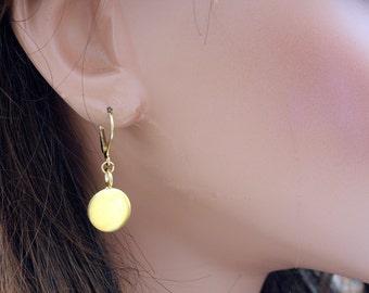 Gold Dot Earrings - Drop  Earrings - Minimal Earrings - Dangle Earrings - Everyday Earrings - Leverback Earrings - Casual Earrings