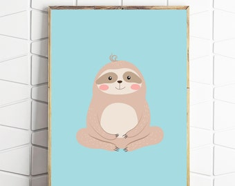 sloth art print, instant download, sloth wall decor, sloth digital art, sloth download, sloth retro art