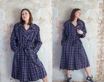 80s woman vintage purple black tartan plaid  coat/ double breasted trench coat / cotton polyester blend dust coat /M/L