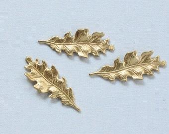 12 pcs OAK LEAF jewelry brass embellishments . 27mm x 11mm (ST3d)