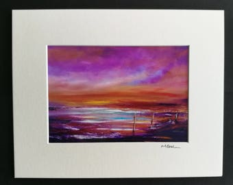 Treading the Fine Line - Abstract Emotional, Art, Photographic Print, mounted, love, red, orange, seascape