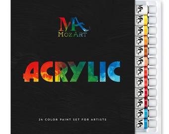 Acrylic Paint Set - 24 Paint Colors 12ml Tubes