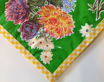 Square Mum Green with Yellow Gingham Trim Oilcloth Tablecloth