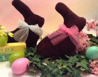Chocolate Easter Bunny Softies/Easter Bunny/Easter Decoration/Brown Velvet Rabbit/Easter Gift/Easter Basket Add In/Stuffed Chocolate Bunny