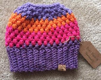 RTS Purple/Orange/Pink Striped Crocheted Messy Bun Beanie; Bun Hat; Mom Bun Beanie