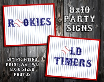INSTANT DOWNLOAD - Baseball Themed Birthday Party Signs - Rookies and Old Timers - DIY Printing - Beverage Table - Blue and Black Text