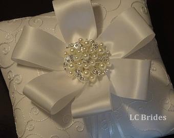 Ring Bearer Pillow, Wedding Pillow, Wedding Ring Pillow, White, Embroider, Custom