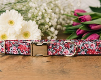 Spring Floral Dog Collar, Pink Roses, Pink and Blue, Girly Dog Collar, Florals, Roses, Pretty, Silver Metal Buckle