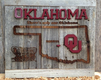 """OKlahoma University, There's only ONE OKLAHOMA 12"""" x 17"""" approx. Item #640"""