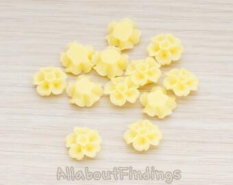 CBC138-BU // Butter Colored Morning Glory Flower Flat Back Cabochon, 6 Pc