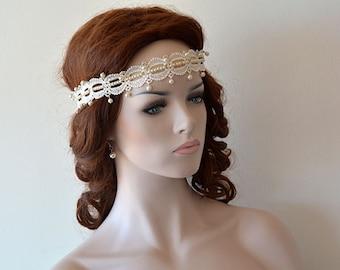 Wedding Lace Headband, Bridal Headband, İvory Lace Headband, Hair  accessory,  Hair Jewelry