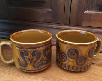 Pair of Stoneware Glazed Vintage Coffee Mugs/Soup Mugs. Retro Design. Made In England
