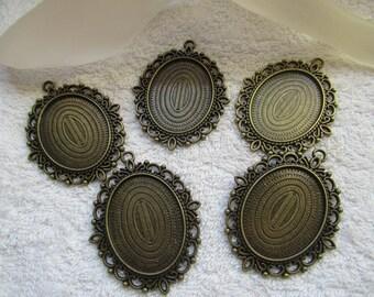 PENDENTIFS SUPPORTS CAMEES joli lot de 2 supports pendentifs ovales couleur  bronze pour camées cabochons 4 cm