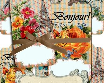Instant Download Vintage Paris Party Digital Collage Sheet Favor Tags Shabby Chic Digital Tags Eiffel Tower Print Paris Decor