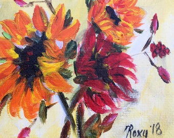 Bright Happy  Fluffy Sunflowers Original Miniature Painting 4x4