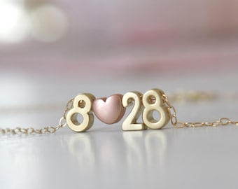 Personalized Gift for Women, Anniversary, Gold Necklace, Couples Necklace Number Necklace Personalized Necklace Best selling item Birthday