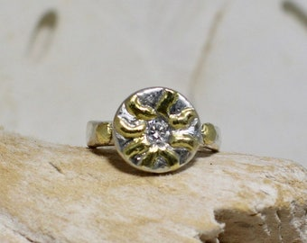 Customize Fine Silver Ring With Gold Plated Raised Sun Bursts and 4mm CZ