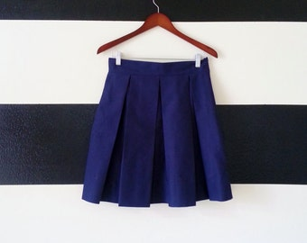 Navy Blue skirt Pleated Skirt with full, classic, preppy, retro and vintage style custom made to order also in plus size