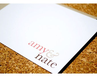 Flat Thank You Note Cards Simple and Sweet - Personalized Note Cards - Names and Ampersand - Simple Typography Note Card Set - Thank yous