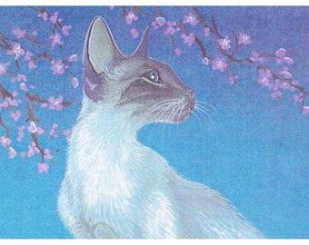 Siamese cat under cherry blossoms, cat art print of my original painting
