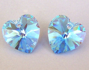 Aquamarine AB 14mm Swarovski crystal heart pendants, qty 2