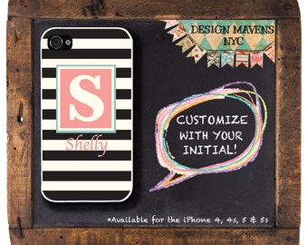 Preppy Stripe Phone Case, Personalized iPhone Case, Monogrammed iPhone, iPhone 7, 7 Plus, iPhone 6, 6s, 6 Plus, SE, iPhone 5, 5s, 5c, 4, 4s