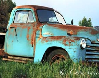 Oversized Old Farm Truck Vintage Memorabilia Teal Turquoise Chevy Vintage Large 16x30 Panoramic Giclee Photograph Fine Art home decor