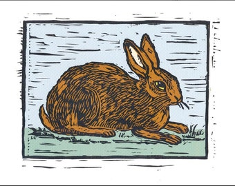 Rabbit Block Print Handcarved Ink Jet Print on Lightly Textured Strathmore Paper..