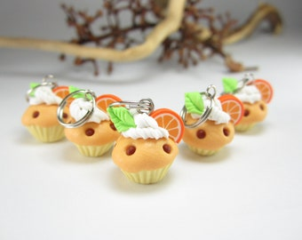 Orange Cupcake Stitch markers Set of 5, miniature food polymer clay cupcake charms knitting accessories food gifts for knitters for her cute