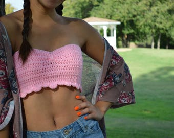 Simple Pink Crochet Crop Top