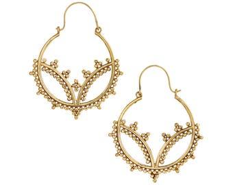 Gold Hoop earrings,Bohemian Jewelry,BOHO EARRINGS,Tribal Brass earrings,Ethnic minimalistic, earrings,Spiral jewelry gift for her ZEH126V