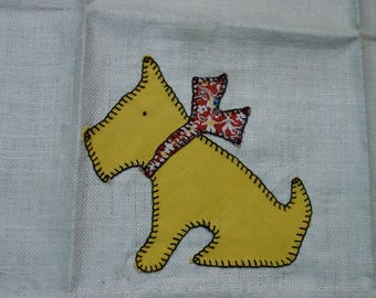 Vintage Kitchen Towel, Appliqued Scottie Dog with Bow, Red Stripe Toweling, Unused, Darling