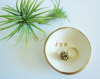 Monogrammed wedding holder gift, engagement gift, White gold rim dish, porcelain ring holder, Ring dish, bridesmaid gift, me and you gift