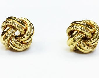 18k solid yellow gold(10mm)love knot stud earrings