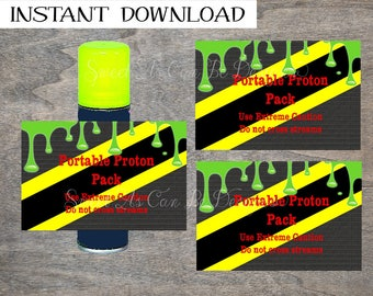 Ghost Slime Silly String label can wraps Proton Pack   printable and digital file   slimer ghostbuster biohazard party