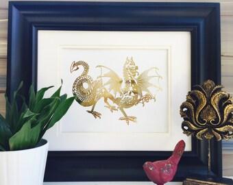 Gold Foil Dragon Print Wall Art, Home Decor, Dragonvale Accessories