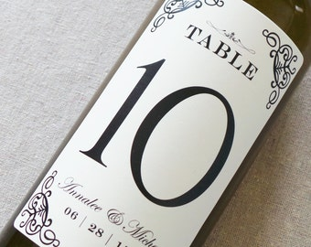 Table Number Wine Labels....Classic Scrolls