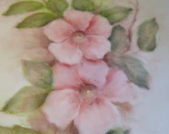 Hand Painted Wild Rose Breakfast Plate