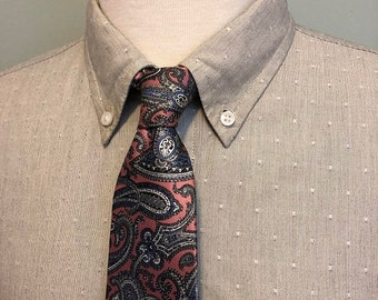 ON SALE Pink/Gray/Blue Paisley Pattern Silk Necktie by Christian Dior c1970s