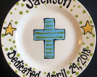Personalized Baptism Plate - Hand Painted Baby Plate with Cross - Great Baptism, Dedication or Christening Gift