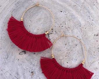 Boho fringe earrings taasel earrings red tribal bohemian