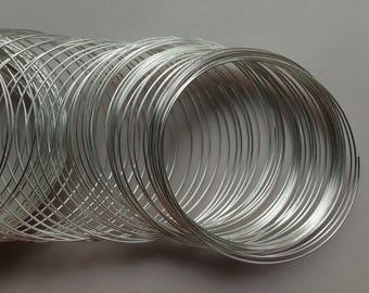 30 bracelet memory wire metal steel ~55/0,5mm silver rounds