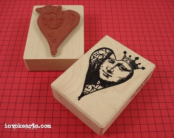 Mona Heart Face Stamp / Invoke Arts Collage Rubber Stamps