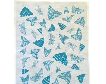 Blue Moths linen tea towel (natural or white)