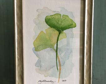 ginkgos / framed / original watercolor / one of a kind painting