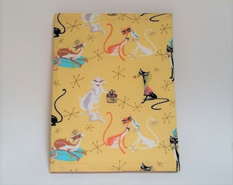 Atomic Cats Composition Notebook Cover made from Repurposed Vintage Pillowcase