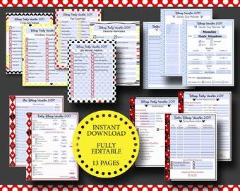 Disney World Disneyland Vacation Planner Kit Editable Digital File - Adobe PDF Reservations, Dining, Hotel, FastPass+, Packing Lists Trip