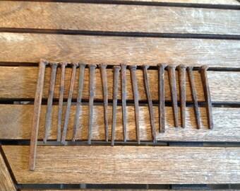 Antique Square Head Rusty Barn Nails - E