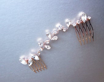 Swarovski crystal hair vine, Bridal crystal hair vine, Dainty crystal hair vine, Bridal comb in rose gold, silver, gold, Wedding hair vine